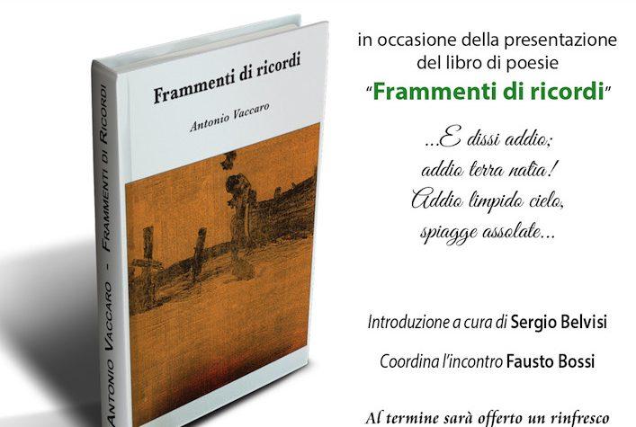 """""""Frammenti di ricordi"""", raccolta di poesie di Antonio Vaccaro"""
